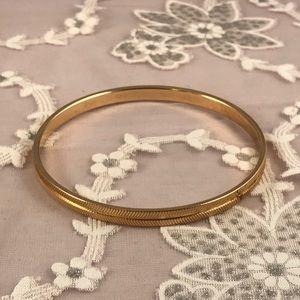 Monet Vintage Goldtone Etched Bangle Bracelet